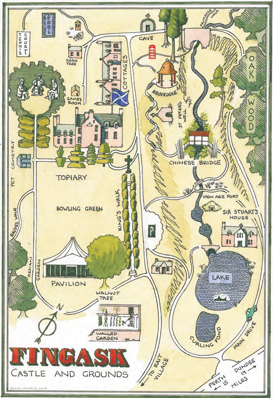 Fingask castle and grounds map