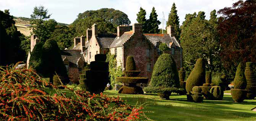 Fingask Castle view from garden with topiary