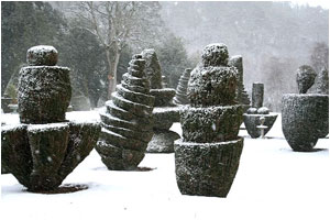 Topiary snow scene at Fingask Castle