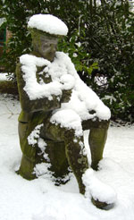 Statue covered in snow at Fingask Castle